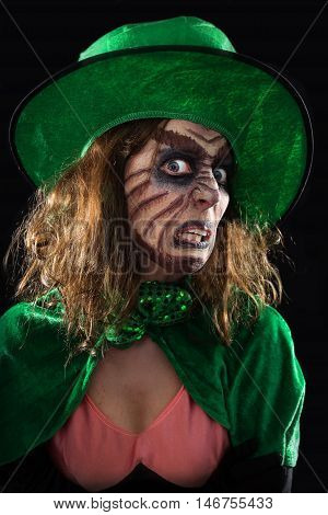 Evil Green Goblin Girl, Black Background