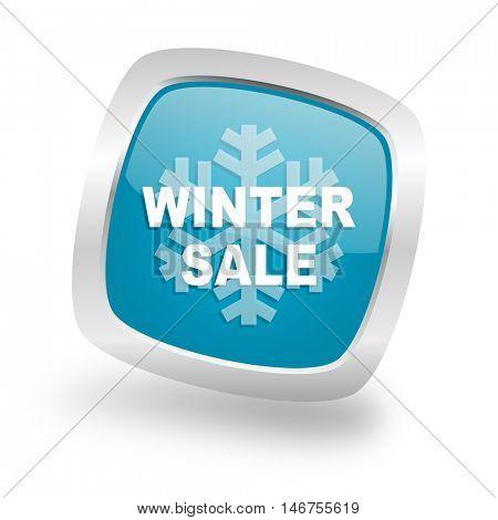 winter sale square glossy chrome silver metallic web icon