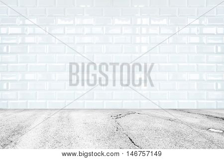 Room Perspective,white Ceramic Tile Wall And Stone Ground
