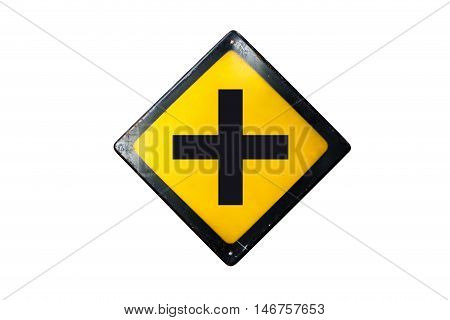 Crossroads sign is isolated on white background