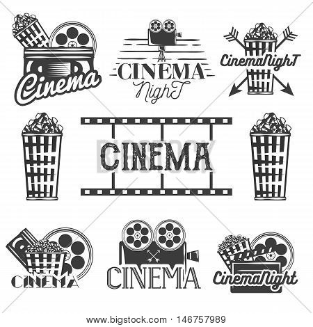 Vector set of cinema labels and logos. Isolated illustration in vintage style, monochrome badges, emblems and design elements of movie theater