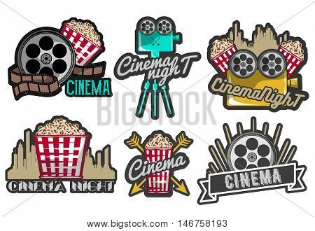Vector set of cinema labels and logos. Isolated illustration in vintage style, colorful badges, emblems and design elements of movie theater