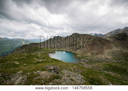 Mountain lake with blue water