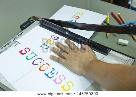 Cutting unsuccess for success target and pencil