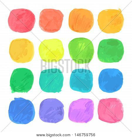 Vector Watercolor Blobs Set. Isolated on White. Clipping paths included.