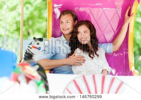 Couple at the amusement park