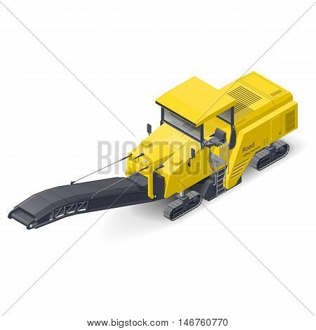 Road milling machine detailed isometric icon vector graphic illustration