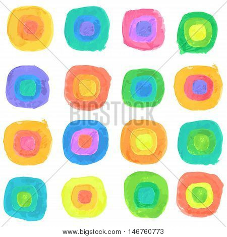 Vector Watercolor Spectrum Dots Seamless Pattern. Clipping paths included.