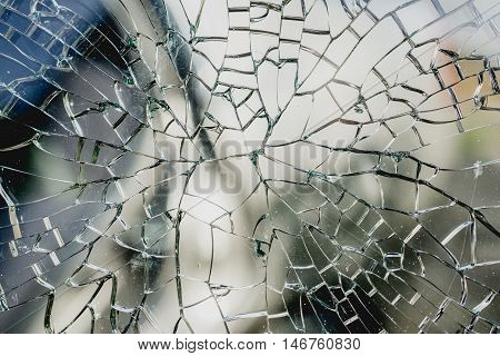 Abstract background of cracked and broken glass