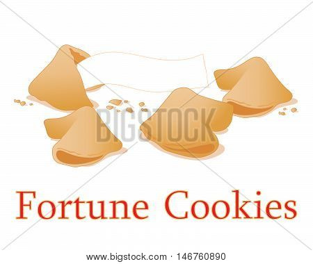an illustration of traditional fortune cookies for new year and celebrations on a white background