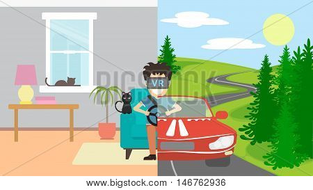 Man in vr playing in race. Smlling man in vr glasses sits at home in the armchair and playing 3d video game. Sunny road with red racing car. Augmented reality.