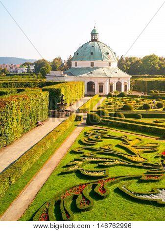 Kromeriz Flower Garden with baroque rotunda, UNESCO World Cultural and Natural Heritage, Kromeriz, Czech Republic