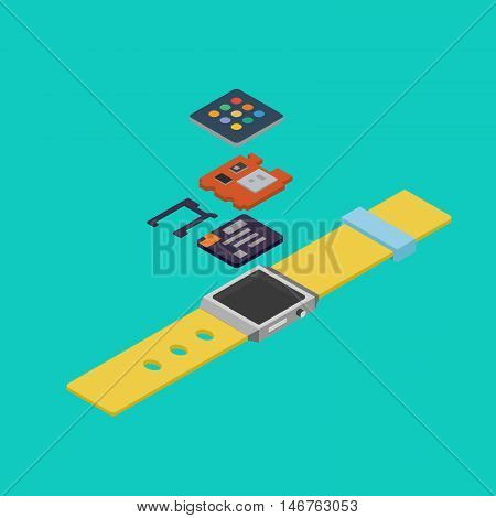 Isometric drawing wearable disassembled. Motherboard, screen and battery are separate. Stock vector.