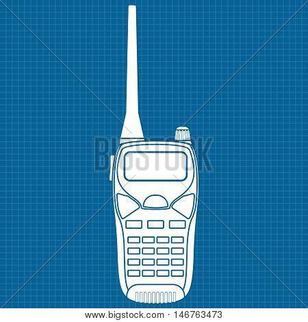 Radio transceiver. Talkie icon. Vector illustration on blueprint background
