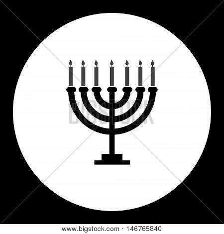 Black Isolated Jewish Candelabrum With Seven Candles Eps10