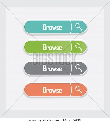 Browse. Set of vector web interface buttons. Color variations.