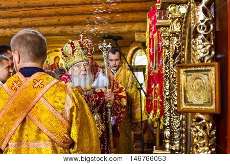 Perechin - Transcarpathia - Ukraine-11 September 2016: Patriarch of the Ukrainian Orthodox Church Kiev Patriarchate Filaret consecrates a new wooden church.