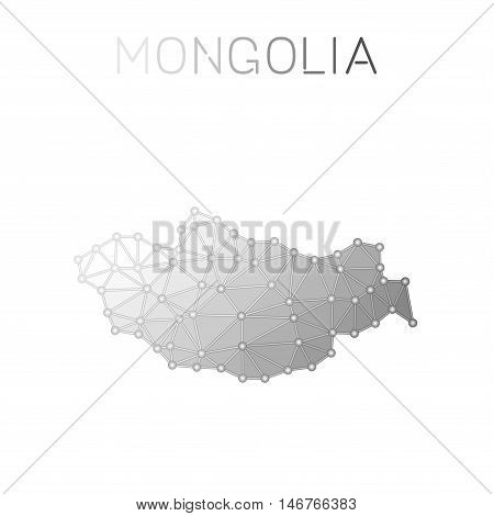 Mongolia Polygonal Vector Map. Molecular Structure Country Map Design. Network Connections Polygonal