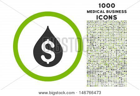 Money Drop rounded glyph bicolor icon with 1000 medical business icons. Set style is flat pictograms, eco green and gray colors, white background.