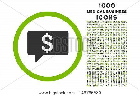 Money Message rounded glyph bicolor icon with 1000 medical business icons. Set style is flat pictograms, eco green and gray colors, white background.