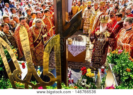 Perechin - Transcarpathia - Ukraine-11 September 2016: Patriarch of the Ukrainian Orthodox Church Kiev Patriarchate Filaret (R) and clergy pray during the Divine Liturgy in the consecration of a new wooden church.