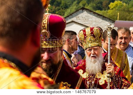 Perechin - Transcarpathia - Ukraine-11 September 2016: Patriarch of the Ukrainian Orthodox Church Kiev Patriarchate Filaret (R) pray during the Divine Liturgy in the consecration of a new wooden church.
