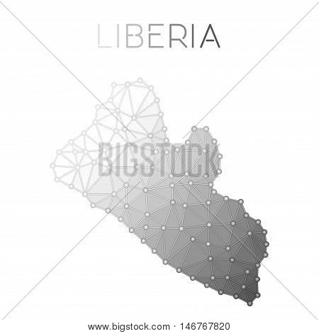 Liberia Polygonal Vector Map. Molecular Structure Country Map Design. Network Connections Polygonal
