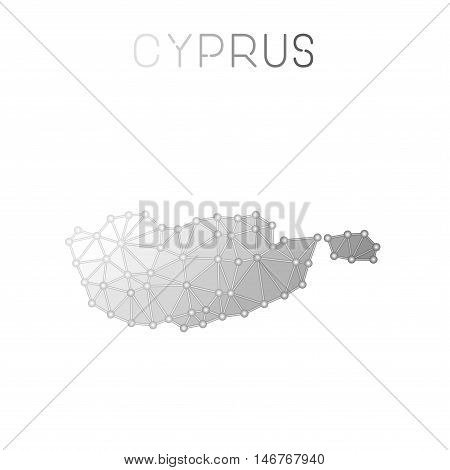 Cyprus Polygonal Vector Map. Molecular Structure Country Map Design. Network Connections Polygonal C