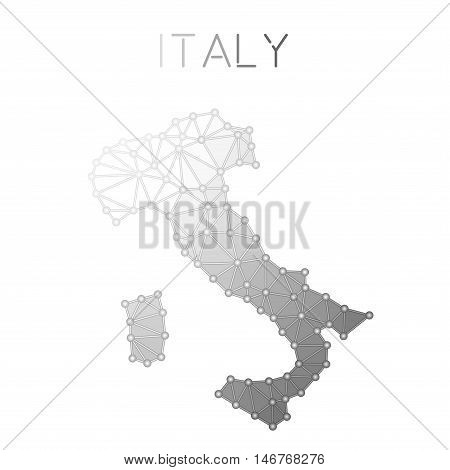 Italy Polygonal Vector Map. Molecular Structure Country Map Design. Network Connections Polygonal It