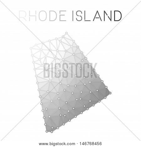 Rhode Island Polygonal Vector Map. Molecular Structure Us State Map Design. Network Connections Poly