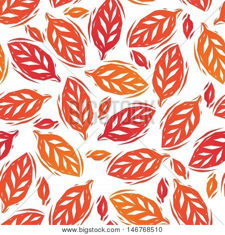 Red and orange autumn leaves on white linocut seamless pattern, vector background