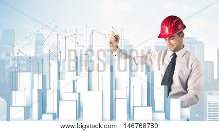 A happy construction worker drawing a city with white, plain buildings, using arrows and angles