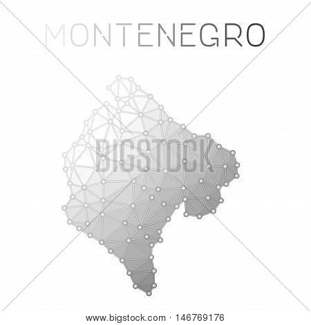Montenegro Polygonal Vector Map. Molecular Structure Country Map Design. Network Connections Polygon