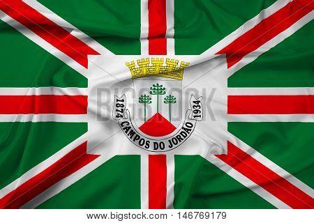 Waving Flag Of Municipio De Campos Do Jordao, Sao Paulo, Brazil