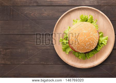 Top View Bbq Burger On Wooden Dish On Wooden Background. Copy Space For Your Text