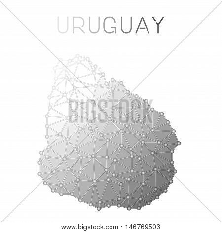 Uruguay Polygonal Vector Map. Molecular Structure Country Map Design. Network Connections Polygonal