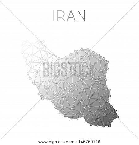 Iran, Islamic Republic Of Polygonal Vector Map. Molecular Structure Country Map Design. Network Conn