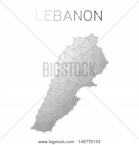Lebanon Polygonal Vector Map. Molecular Structure Country Map Design. Network Connections Polygonal