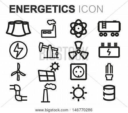 Vector black line energetics icons set on white background
