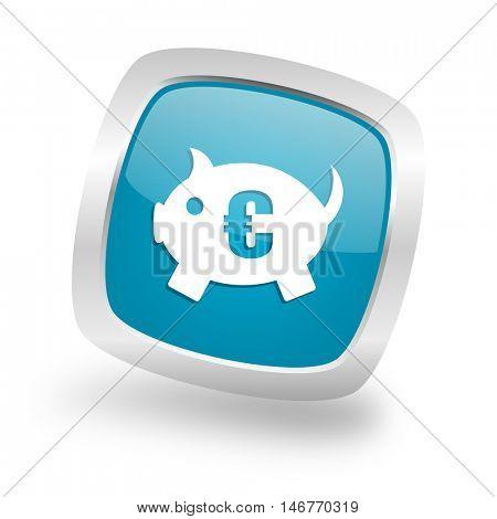 piggy bank square glossy chrome silver metallic web icon