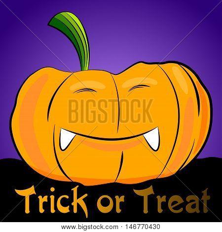 Cartoon halloween pumpkin. Vector pumpkin with smiling face. Trick or treat pumpkin.