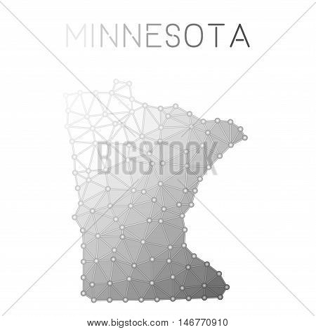Minnesota Polygonal Vector Map. Molecular Structure Us State Map Design. Network Connections Polygon
