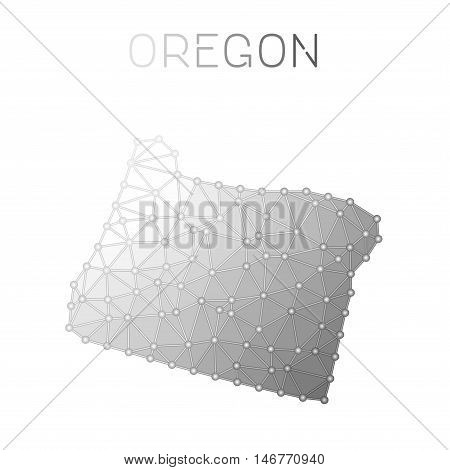 Oregon Polygonal Vector Map. Molecular Structure Us State Map Design. Network Connections Polygonal