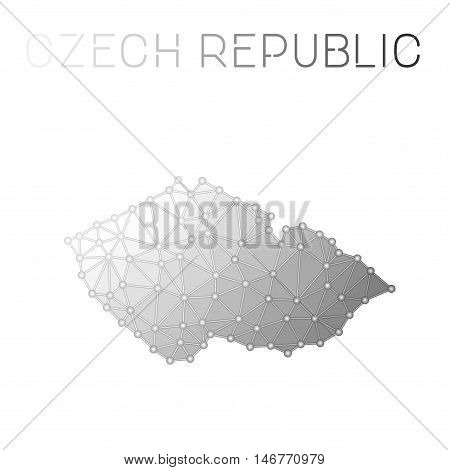 Czech Republic Polygonal Vector Map. Molecular Structure Country Map Design. Network Connections Pol