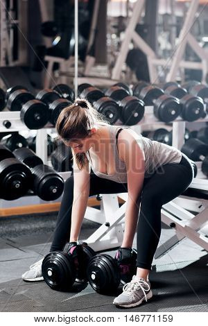 Young sexy woman doing strong exercises at gym. Attractive female athlete pumping up two dumbbells while training. Healthy lifestyle, professional sportsman training