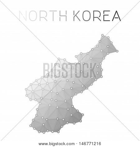 Korea, Democratic People's Republic Of Polygonal Vector Map. Molecular Structure Country Map Design.
