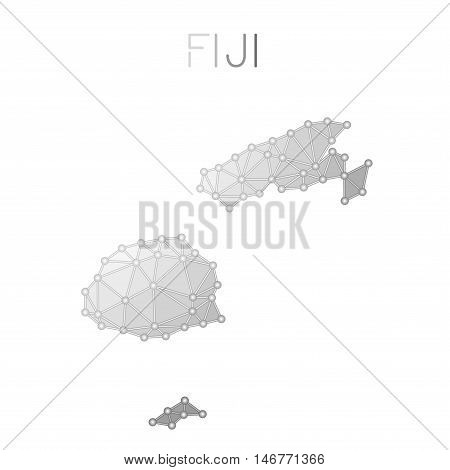 Fiji Polygonal Vector Map. Molecular Structure Country Map Design. Network Connections Polygonal Fij