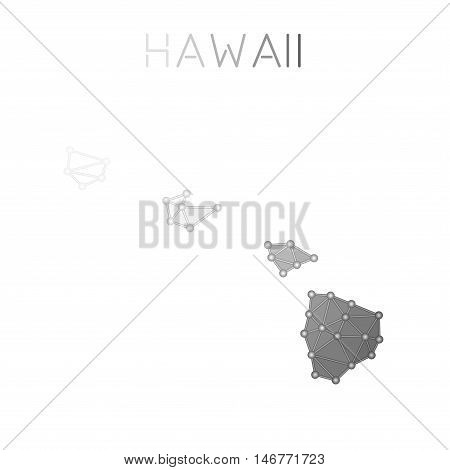Hawaii Polygonal Vector Map. Molecular Structure Us State Map Design. Network Connections Polygonal