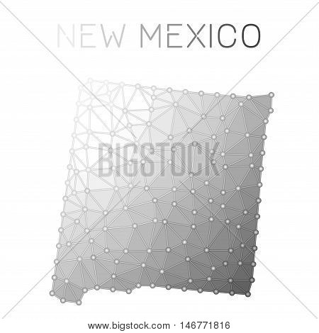 New Mexico Polygonal Vector Map. Molecular Structure Us State Map Design. Network Connections Polygo