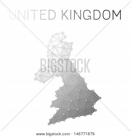 United Kingdom Polygonal Vector Map. Molecular Structure Country Map Design. Network Connections Pol